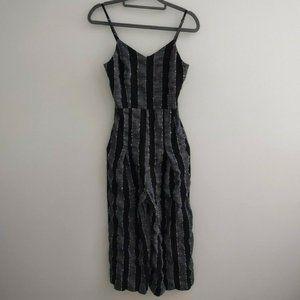 Lulus Linen Cotton Blend Striped Black Jumpsuit